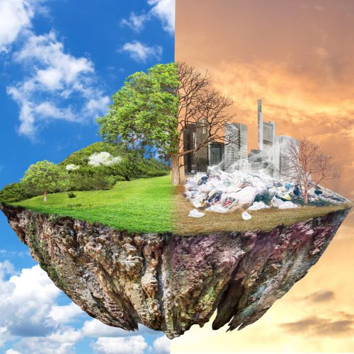 Global Warming and human waste ,Pollution Concept - Sustainability.  showing the effect of arid land with tree changing environment, Concept of climate change. Sky background, different weather
